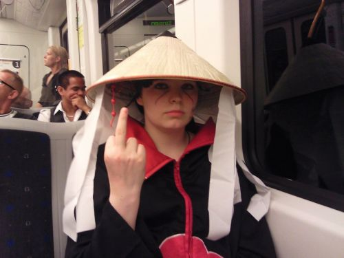 Pissed off after Sasuke took pictures at the train